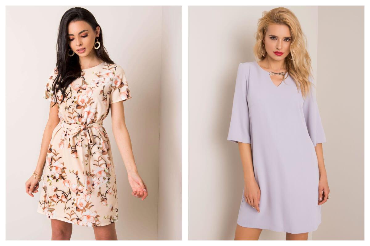 Dwie sukienki na wesele przed kolano: jednolita i w kwiecisty print