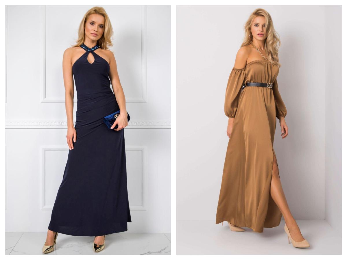 Eleganckie długie sukienki z odkrytymi ramionami