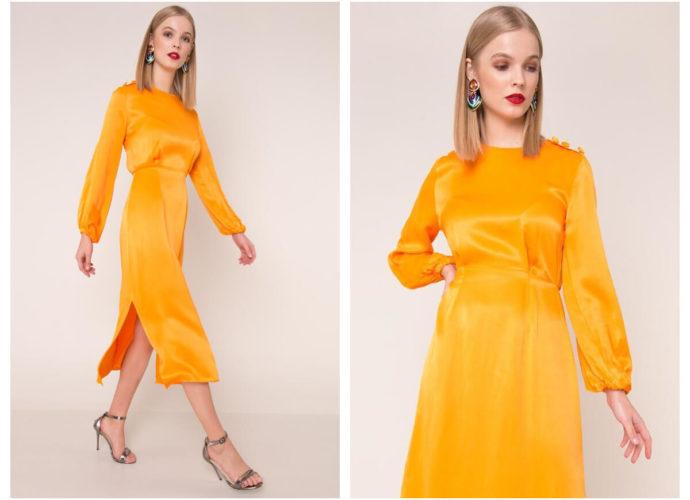 Satynowa sukienka maxi w kolorze pomarańczowym